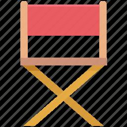 chair, director chair, folding chair, furniture, studio chair icon