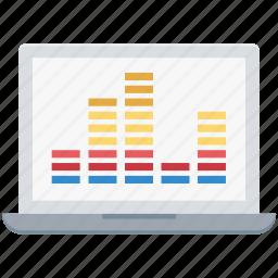 equalizer, laptop, multimedia, music preferences, sound settings, volume adjuster icon
