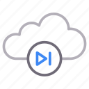 cloud, media, play, player, storage icon