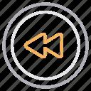 backward, media, multimedia, player, previous icon