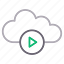 cloud, media, player, storage, video icon