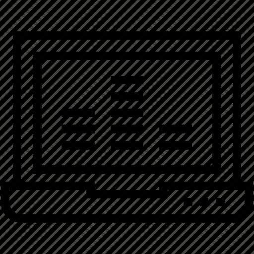 laptop, laptop screen, multimedia, music, sound base icon