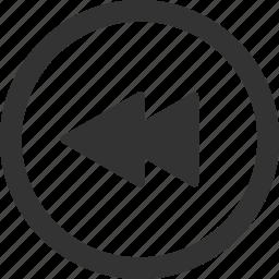 back, backwards, rewind, rewind audio, rewind video icon