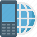 cell phone, globe, internet connection, mobile internet, mobile phone icon