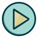 arrow, arrows, music, navigation, play, right icon