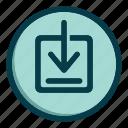 arrow, down, download, save, storage icon