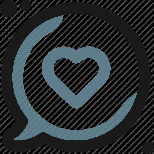 bubble, heart, message, multimedia icon