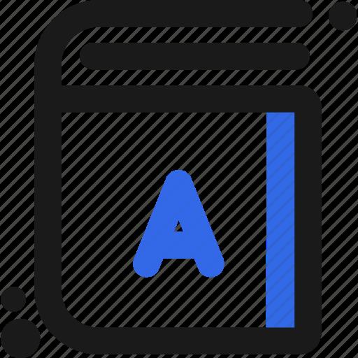 a, abc, book, diccionary, letter icon