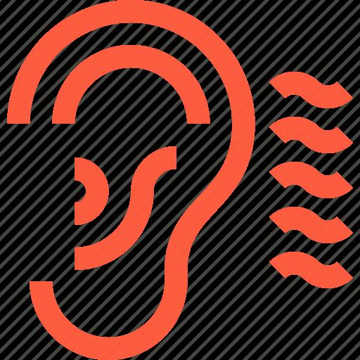 acoustics, audio, ear, hear, listen, noise, sound icon