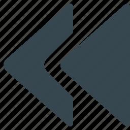 arrow, back, left, multimedia, player, rewind, scrolling icon