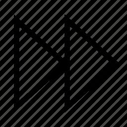 arrow, controls, fast, fasten, forward, skip, triangle icon