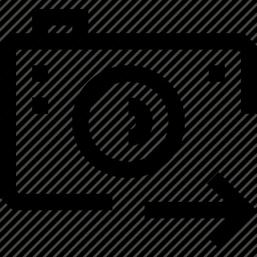 arrow, camera, mobile, phone, photo, right, video icon