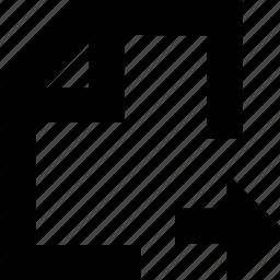 arrow, documen, file, left icon