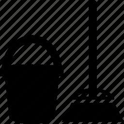 broom, bucket, clear, net icon