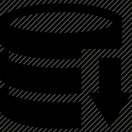 arrow, data, database, documen, down icon