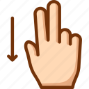 down, fingers, swipe, two