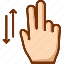 fingers, scroll, two, vertical icon
