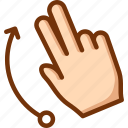 fingers, flick, two, up icon