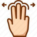 drag, fingers, horizontal, three, touch icon