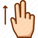 fingers, swipe, two, up