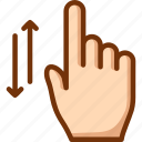 finger, one, scroll, vertical icon