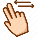 fingers, horizontal, scroll, two icon