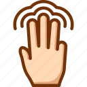 double, fingers, tap, three, touch icon