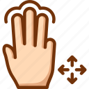 drag, fingers, free, three, touch icon