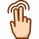 double, fingers, tap, touch, two icon