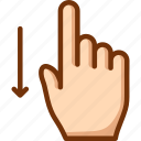 down, finger, one, swipe icon
