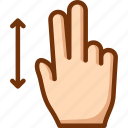 fingers, swipe, two, vertical icon