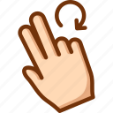 fingers, rotate, touch, two icon