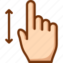 finger, one, swipe, vertical icon