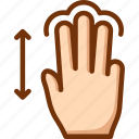 drag, fingers, three, touch, vertical icon