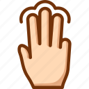 fingers, select, tap, three, touch icon