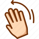 hand, left, palm, wave, waving icon
