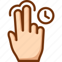 fingers, hold, tap, touch, two icon