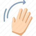 waving, right, palm, hand, wave icon