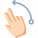 fingers, flick, left, two icon
