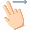 fingers, right, swipe, two icon