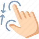 gesture, pinch, touch, zoom out icon
