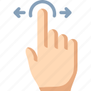 drag, finger, horizontal, one, touch icon