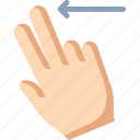 fingers, left, swipe, two icon
