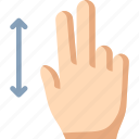 fingers, swipe, two, vertical