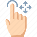 drag, finger, free, one, touch icon