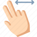 fingers, horizontal, swipe, two icon