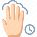 fingers, four, hold, tap, touch icon
