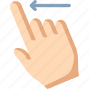 finger, left, swipe