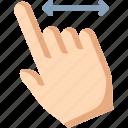 finger, horizontal, swipe
