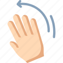 waving, left, palm, hand, wave icon
